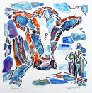 Susannes Cow : watercolour/oilpastel/blackpen : SOLD
