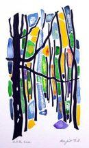 White Tree : watercolour/oil pastel/black pen : SOLD