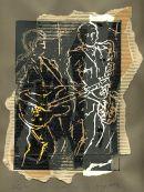 Jazz- Guitar/Sax-I, unique solar print and collage, enquire for details