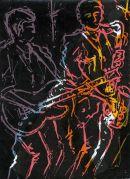Jazz Lights, solar print on screen-print, artist proof,  SOLD