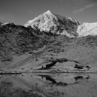 Snowdon's winter reflection from Llyn Llydaw
