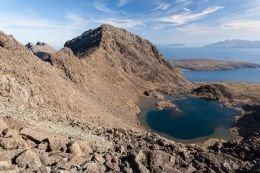 Sgurr nan Eag (3031 ft) and a view to the Small Isles
