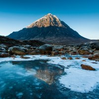 Stob Dearg in the icy waters of the river Coupall
