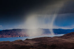 Snow shower in the Sound of Raasay