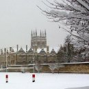 X144 Season's Greetings! Deep snow covers Merton College, Oxford