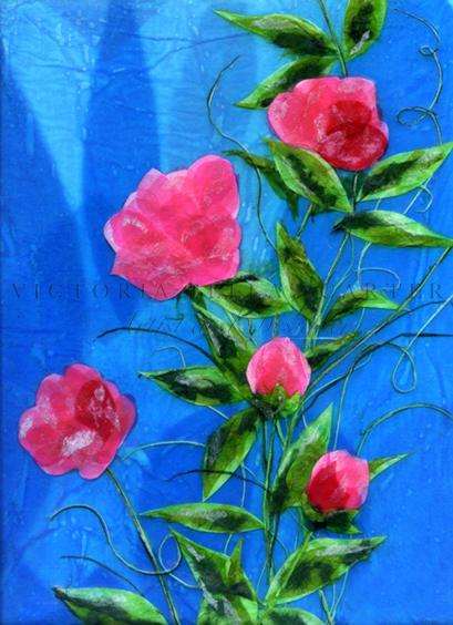 'My True Love,'  Original tissue paper collage on canvas. Unframed price £170