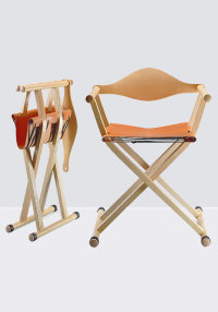 C2 Director's Chair folding chair in ash with a leather seat designed by David Colwell