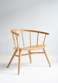 Devon low armchair in ash with an elm seat designed by Chris Eckersley