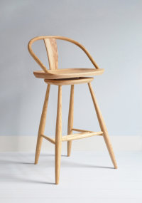 Epping swivelling bar stool in ash designed by Dave Green