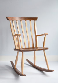 Henley Rocker in ash and walnut designed by Dave Green