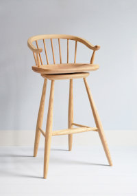 Matlock swivelling bar stool in ash designed by Dave Green