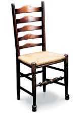SF104 WEST MIDLANDS LADDERBACK SIDECHAIR  Strictly speaking the West Midlands chairs are not 'Windsors' as the legs fit together in a framed construction, rather than fitting into a solid seat.
