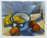 Citrus Fruit and Blue Saucepan