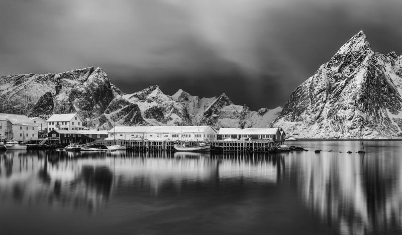 Hamnoy Harbour Lofoten Islands by Jane Lee HC