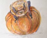 Bernard - Soprano Pipistrelle Bat on Miniature Pumpkin
