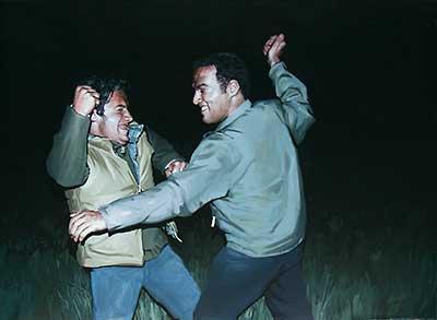 Figure 4. Friendly Fight. 2008. Oil on canvas. 115 x 110 cm