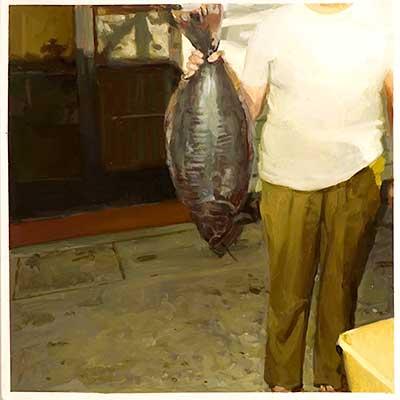 Figure 9. Fish Wife. 2010. enamel & oil on board. 30 x 30 cm