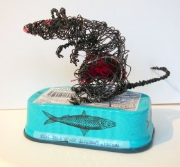 rat on  tin wire work 2014-