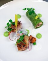 2015 National Chef of the Year starer of Cannelloni of Wild Mushrooms, Crisp Boneless Free-range Hen's Wings, Peas & Girlies with Truffle Foam