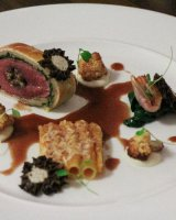 2015 Bronze main at Scottish chef of the year main course of Cairn Hill Farm Lamb en Croute, Hand Rolled Macaroni, Stuffed Morels and 12 years old Pedro Ximenez Vinegar Jus