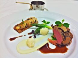 Truffled loin of Scottish black face cross lamb, wild garlic spatzle, mushroom tart, green asparagus & cauliflowers with a Pedro Ximenez sauce