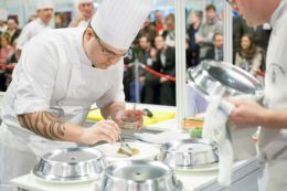 Chef Zoltan Szabo plating up his dishes at 2013 Scottish Chef of the Year