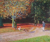 Dog walkers in the  park