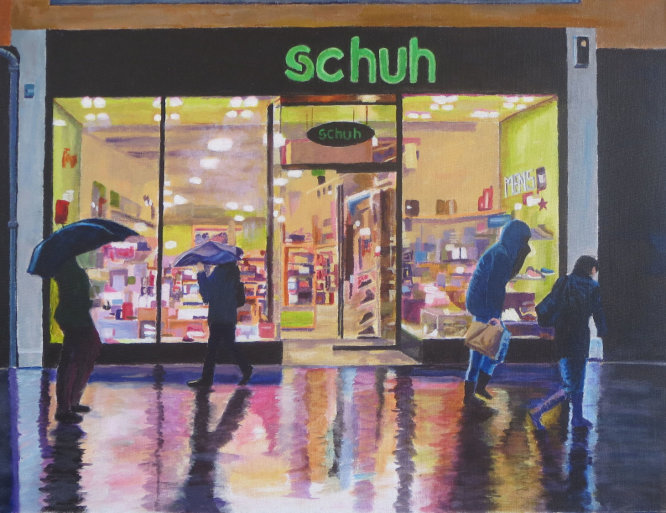 Winter shopping in the rain