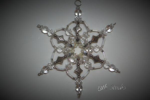 Clear, silver snowflake decoration, snowflake sun-catcher, snowflake ornament, Christmas decoration