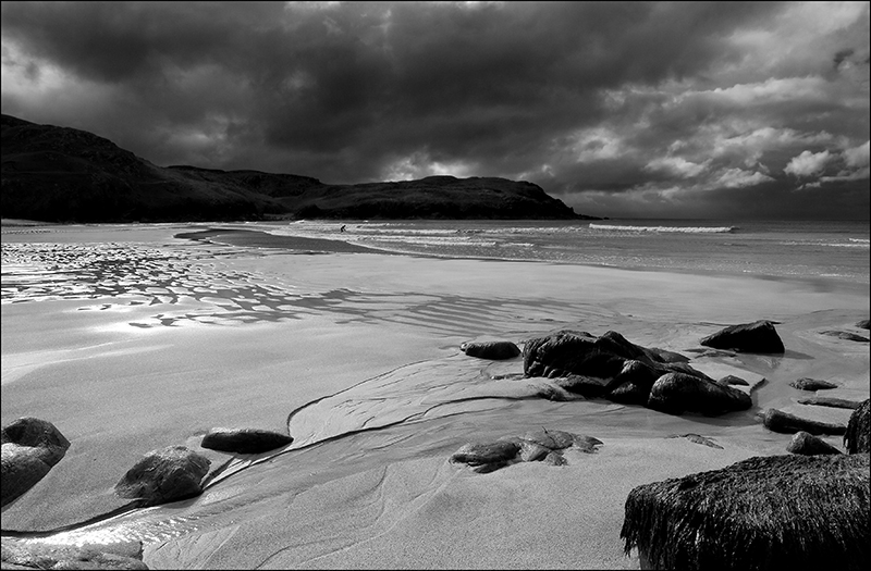 Dalmore with a surfer B+W