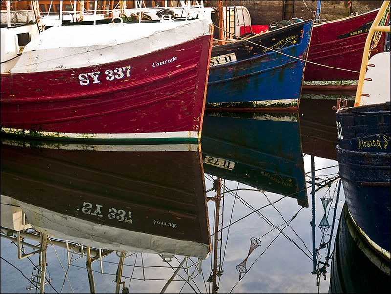 Harbour bows- wooden hulls in Stornoway