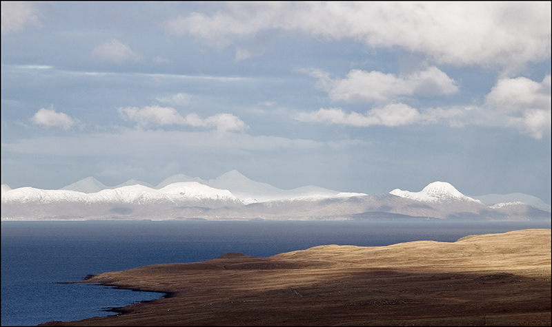 Snowy North Harris from Skye