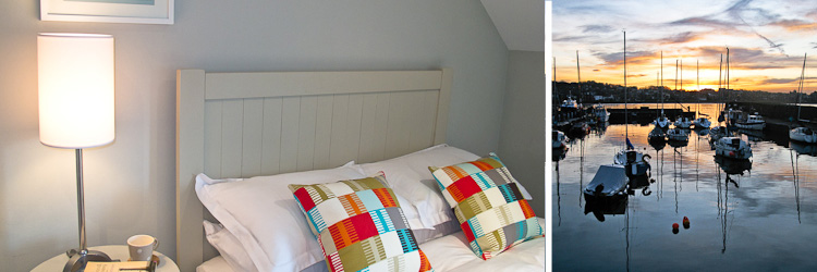 6 harbour terrace / bedroom detail / north berwick harbour sunset