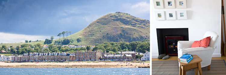 north berwick law from the forth / 6 harbour terrace / living room detail