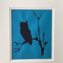 night owl, silhouette, print,