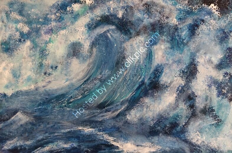 An artprint of High Seas an abstracted wave in blue, turquoise and white