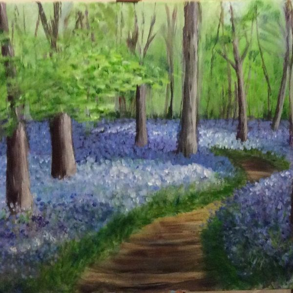 bluebells, woodland, walk, countryside, trees, original art