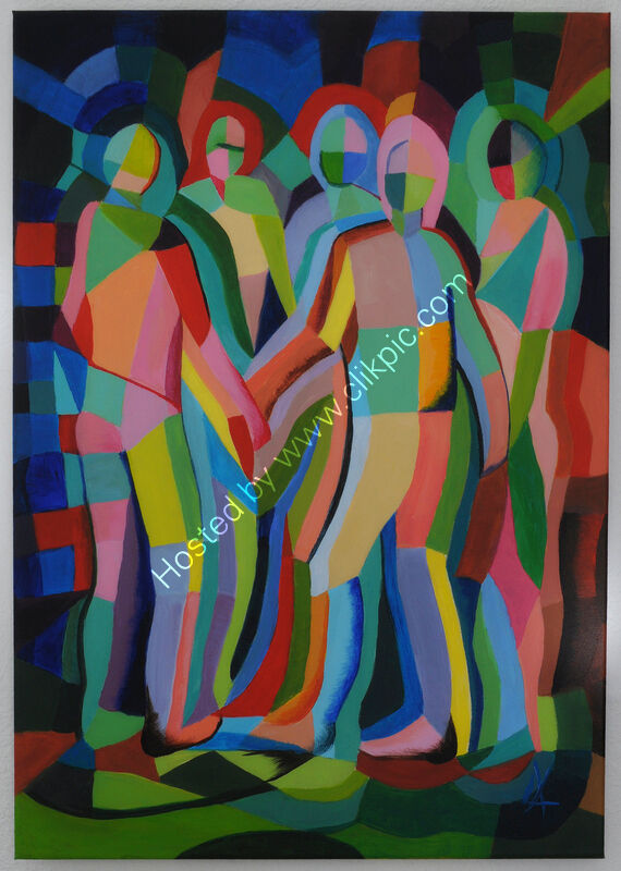 A colourful abstract expressive painting of a group of dancers - Cubist style