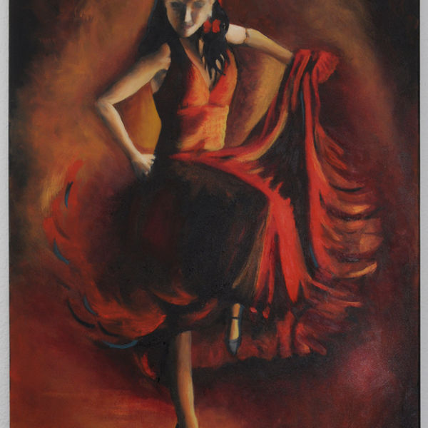 flamenco, woman, drama, swirling skirts, colourful, red and gold