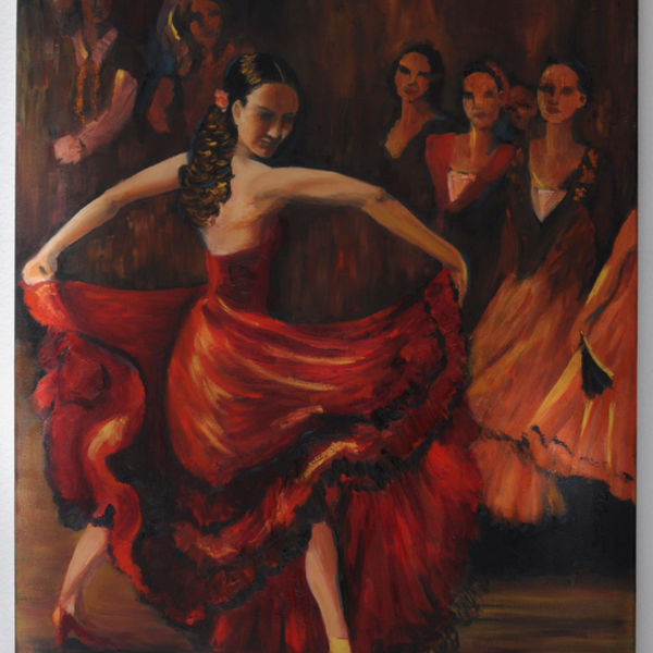 flamenco, woman, drama, swirling skirts, audience, reds, golds