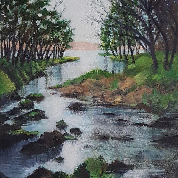 lake, stream, trees, reflections