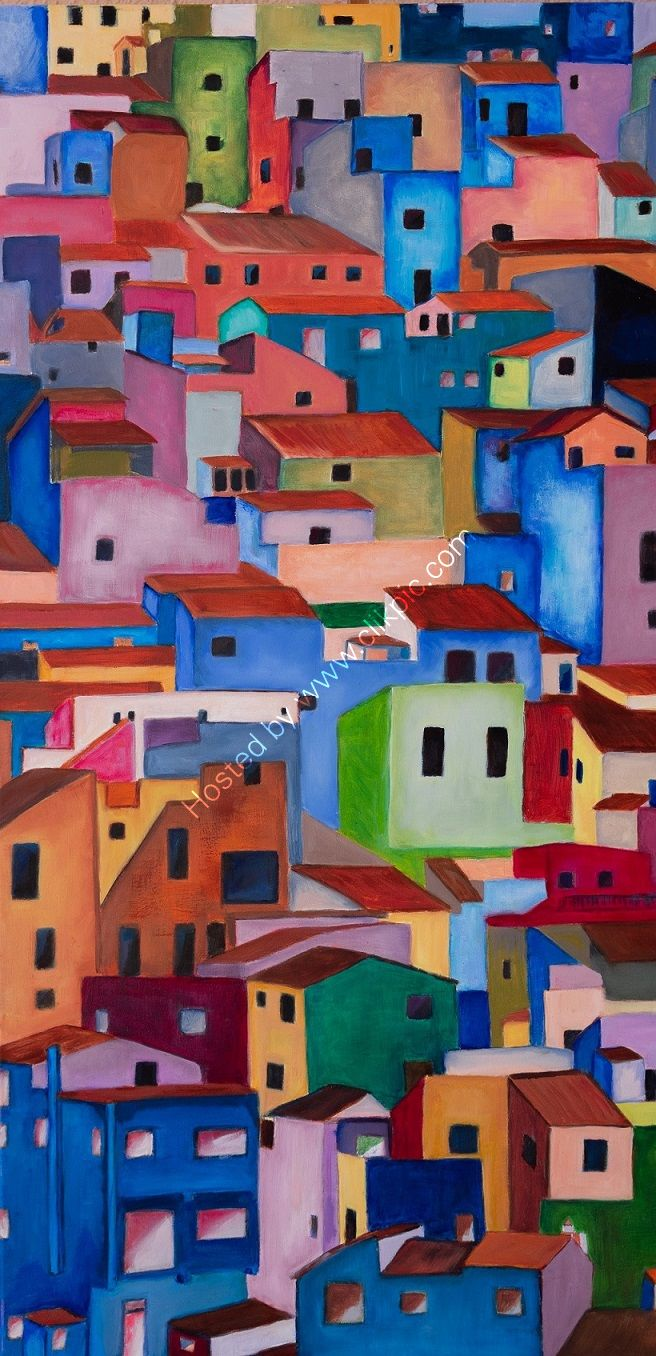 housees, Spanish, village, paintied, multicolour,