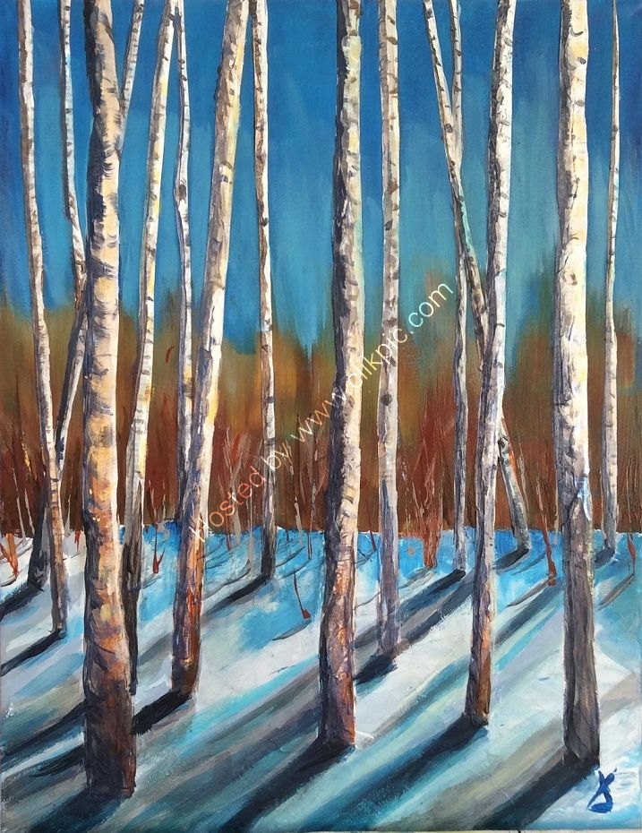 woodland, silver birch, new shoots, spring, winter, trees, collage