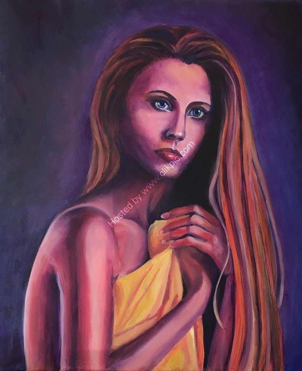 woman, nervous, fauvist, portrait