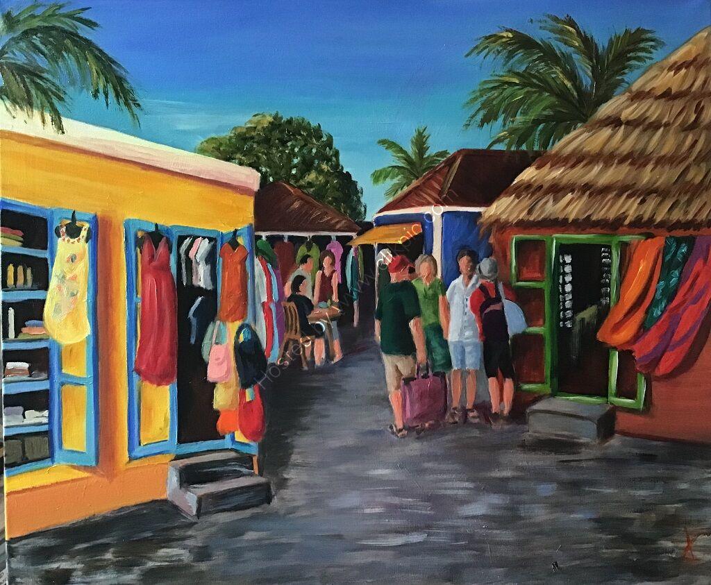 A colourful Caribbean market scene