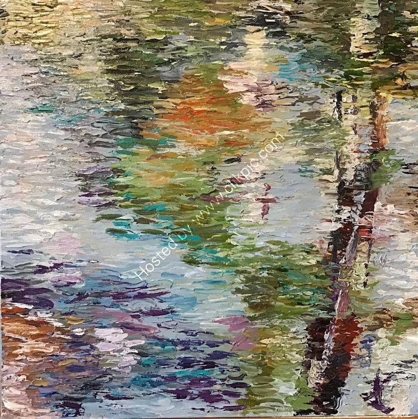 reflections, water, abstracted, trees, bule, green, warm, cool, contrast