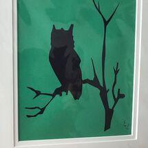 night owl, silhouette, print,