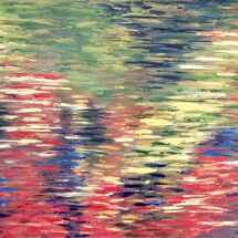 water, reflections, oil, canvas