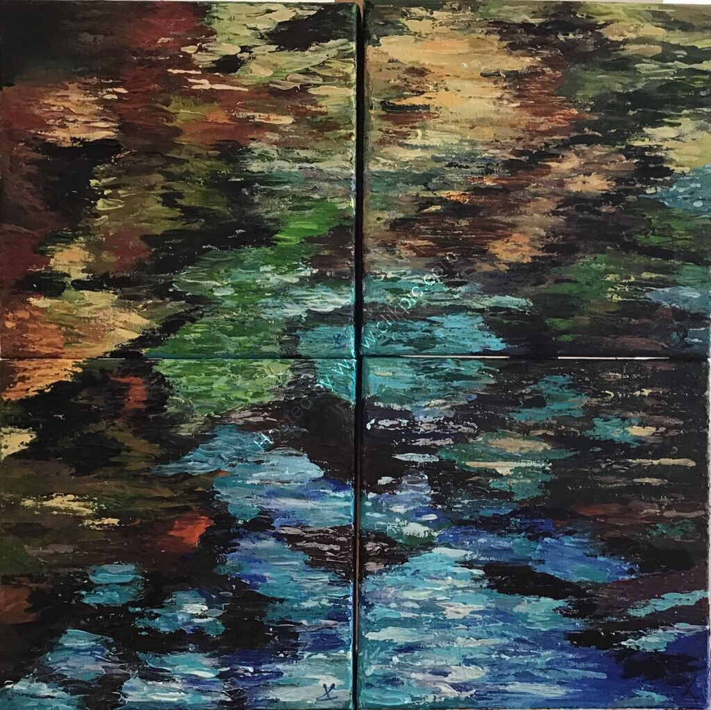 Reflections, water, ripples, abstract, expressive, impressionist, intense