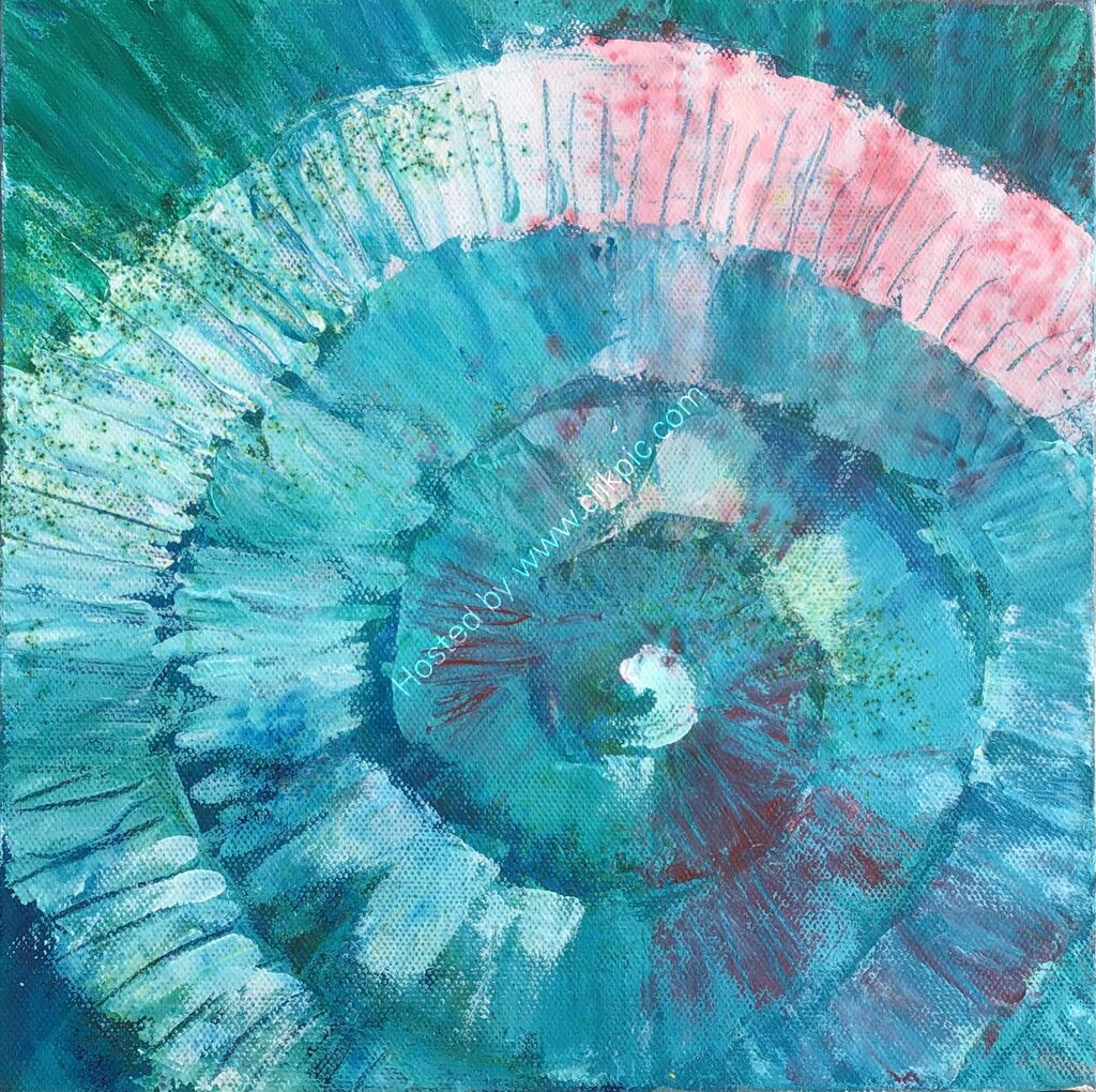 Turquoise, pink, blues, spiral, abstract, contepoorary, original